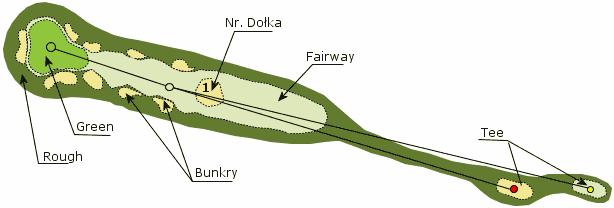 Budowa pola golfowego - dołek: green, rough, fairway, bunkry i tee to elementy każdego dołka na polu golfowym.