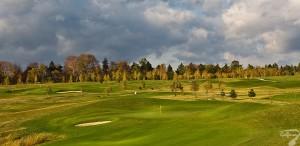 Budowa pola golfowego / galeria pól golfowych - widok na dołki i greeny dołków na polu golfowym Krakow Valley Golf & Country Club.