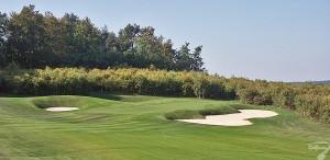 Budowa pola golfowego / galeria pól golfowych - dołek golfowy (green z approach) na polu golfowym Krakow Valley Golf & Country Club.