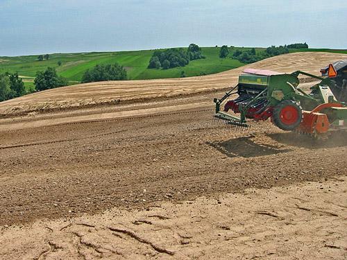 Budowa pola golfowego, agrotechnika - siew mechaniczny fairway i rough na polu golfowym za pomocą siewnika rzutowego.